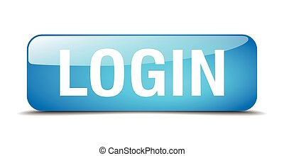 login blue square 3d realistic isolated web button