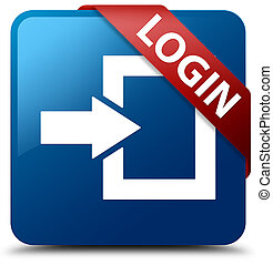 Login blue square button red ribbon in corner