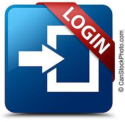 Login blue square button red ribbon in corner