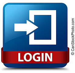 Login blue square button red ribbon in middle