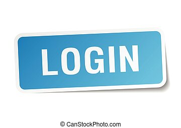 login blue square sticker isolated on white