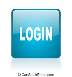 login blue square web glossy icon