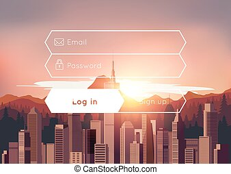 Login box with city sunset background