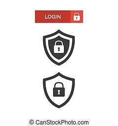 Login button and shield security icon.