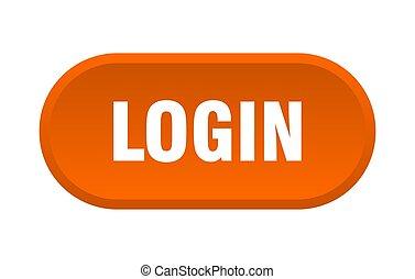 login button. login rounded orange sign. login