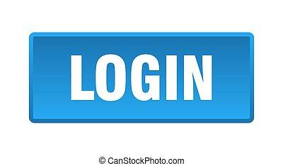 login button. login square blue push button
