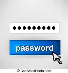 Login button - with abstract cursor illustration.