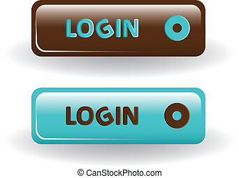 login buttons - brown and blue