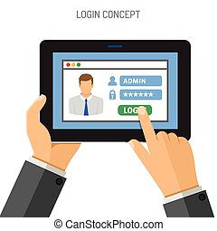 Login concept on tablet PC