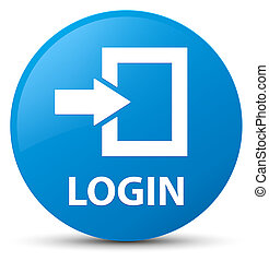 Login cyan blue round button