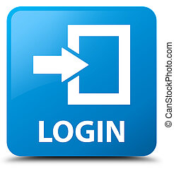 Login cyan blue square button