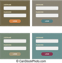 Login Form - 4 Logins Form, Isolated On White Background,...