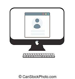 Login form on desctop pc illustration.