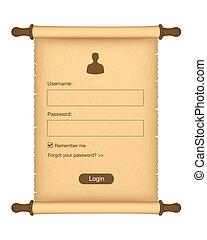 login, formulaire
