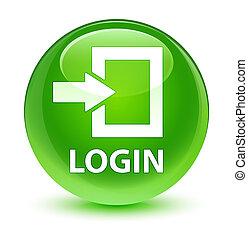 Login glassy green round button