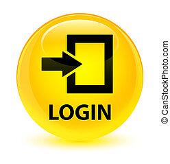 Login glassy yellow round button