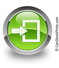 Login glossy icon - Login icon on glossy green round button