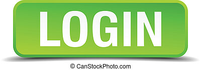 Login green 3d realistic square isolated button