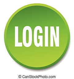login green round flat isolated push button