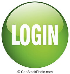 login green round gel isolated push button