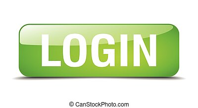 login green square 3d realistic isolated web button