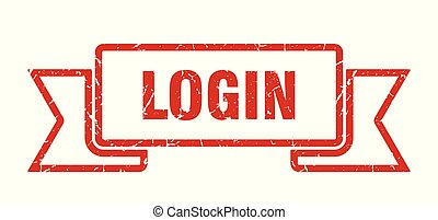 login grunge ribbon. login sign. login banner