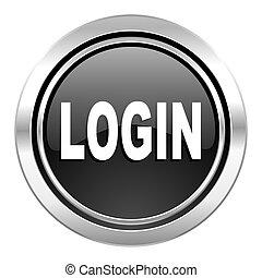 login icon, black chrome button