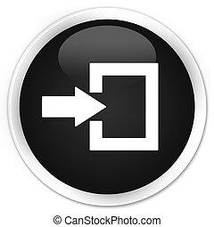 Login icon black glossy round button