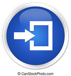 Login icon blue glossy round button