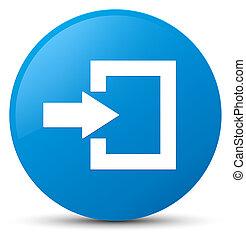 Login icon cyan blue round button