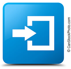 Login icon cyan blue square button