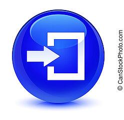 Login icon glassy blue round button