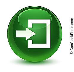 Login icon glassy soft green round button