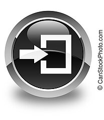 Login icon glossy black round button