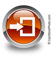 Login icon glossy brown round button
