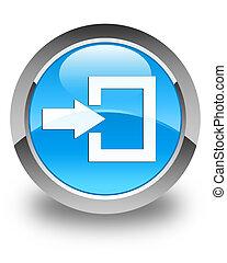 Login icon glossy cyan blue round button