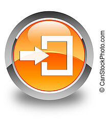 Login icon glossy orange round button