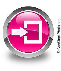 Login icon glossy pink round button