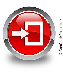 Login icon glossy red round button