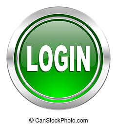 login icon, green button