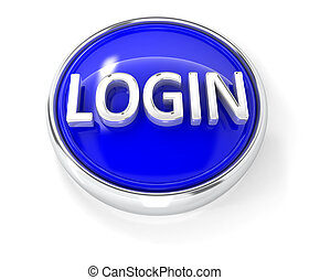 Login icon on glossy blue round button