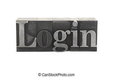 login in old metal type