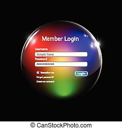 Login interface in a colorful sphere