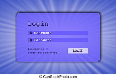 Login interface - username and password, starburst background, blue