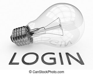 Login - lightbulb on white background with text under it. 3d...