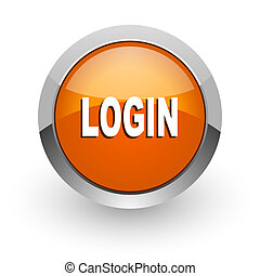 login orange glossy web icon