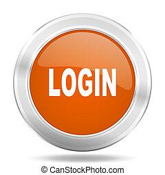 login orange icon, metallic design internet button, web and mobile app illustration