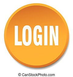 login orange round flat isolated push button