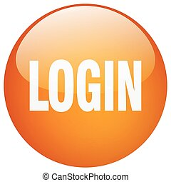 login orange round gel isolated push button