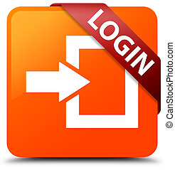 Login orange square button red ribbon in corner